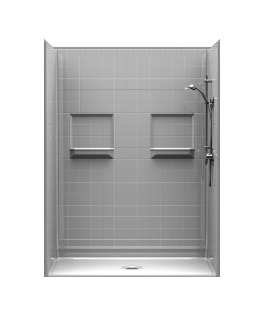 walk-in shower with 4-inch tile walls, assembled