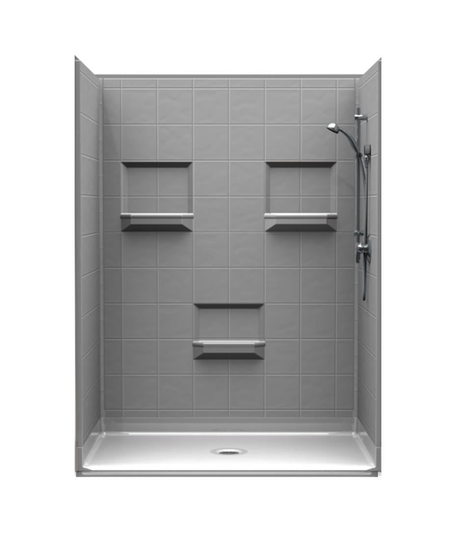 barrier-free shower with 8-inch tile walls, assembled