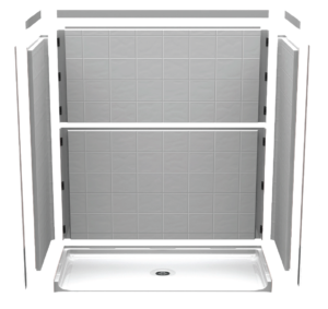 illustration showing how barrier-free shower walls fit together