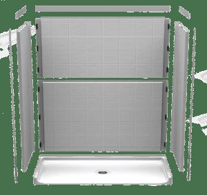 illustration showing how barrier-free shower walls fit together
