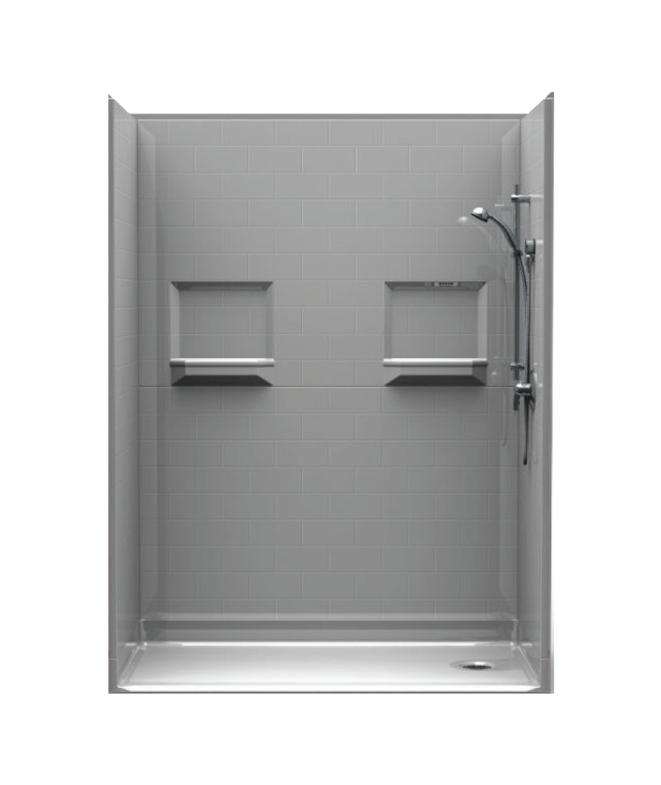 barrier-free shower with subway tile walls, assembled