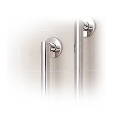 top half of grab bars for barrier-free shower