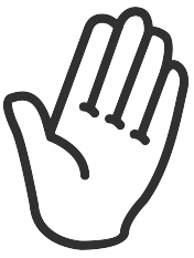 cartoon outline of a human left hand