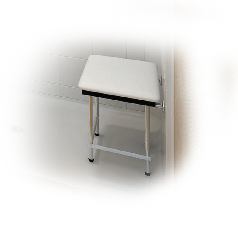 padded stool, chrome legs, white seat, attached to barrier-free shower wall