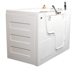 Tub with end panel