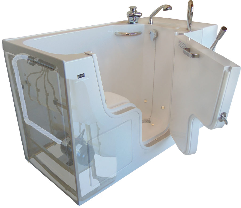 3d model of walk-in tub with door open, cut out to show interior jet pump