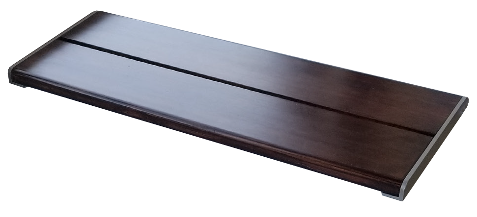 brown wood pattern bench for use in walk-in tubs