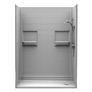 barrier-free shower with diamond tile walls, assembled