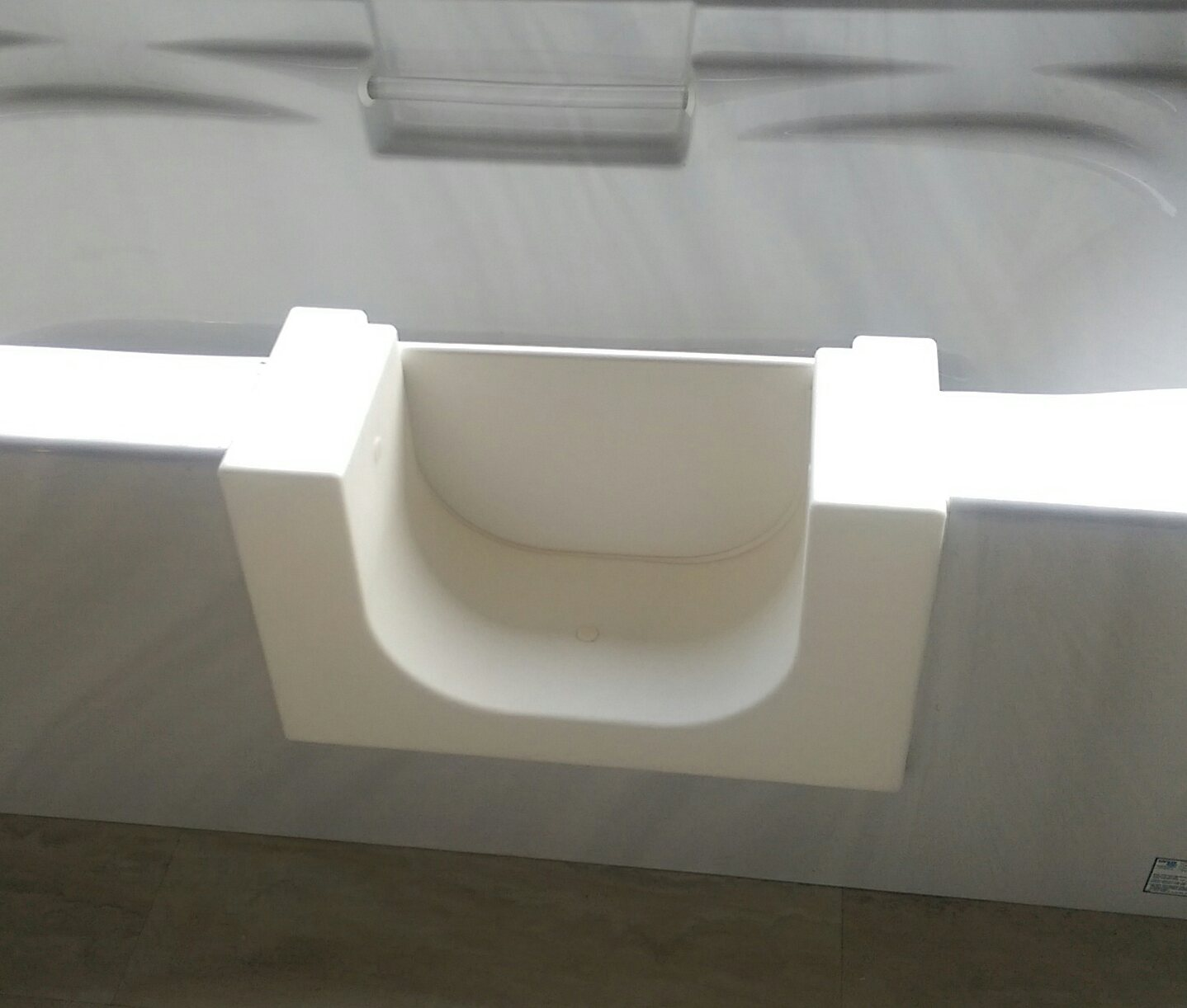 walk-in bathtub with door closed, installed