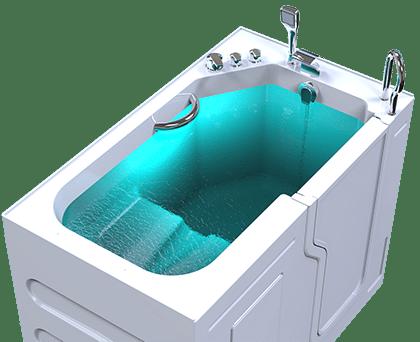 3d model of Fairmount walk-in bathtub, door closed, full of water, from above