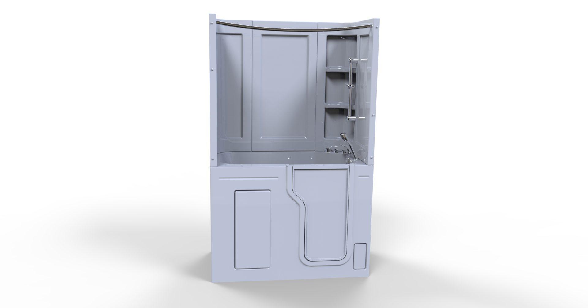 3d model of Fairmount walk-in bathtub, door closed, no water, with installed shower walls