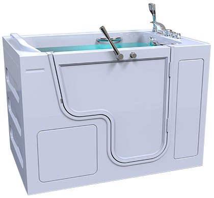 3d model of Grandeur style walk-in bathtub, door closed, full of water
