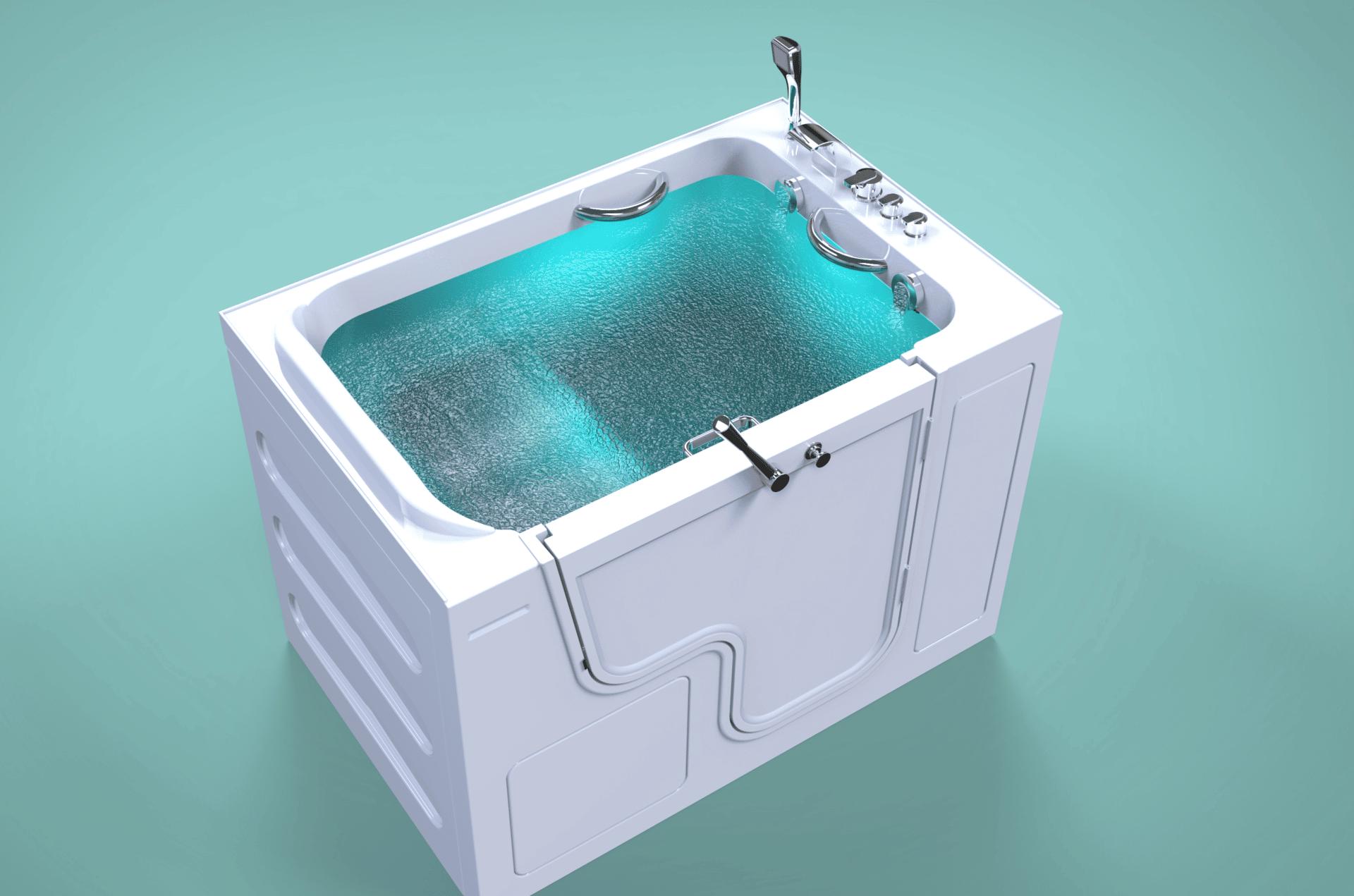 3d model of Grandeur style walk-in bathtub, door closed, full of water