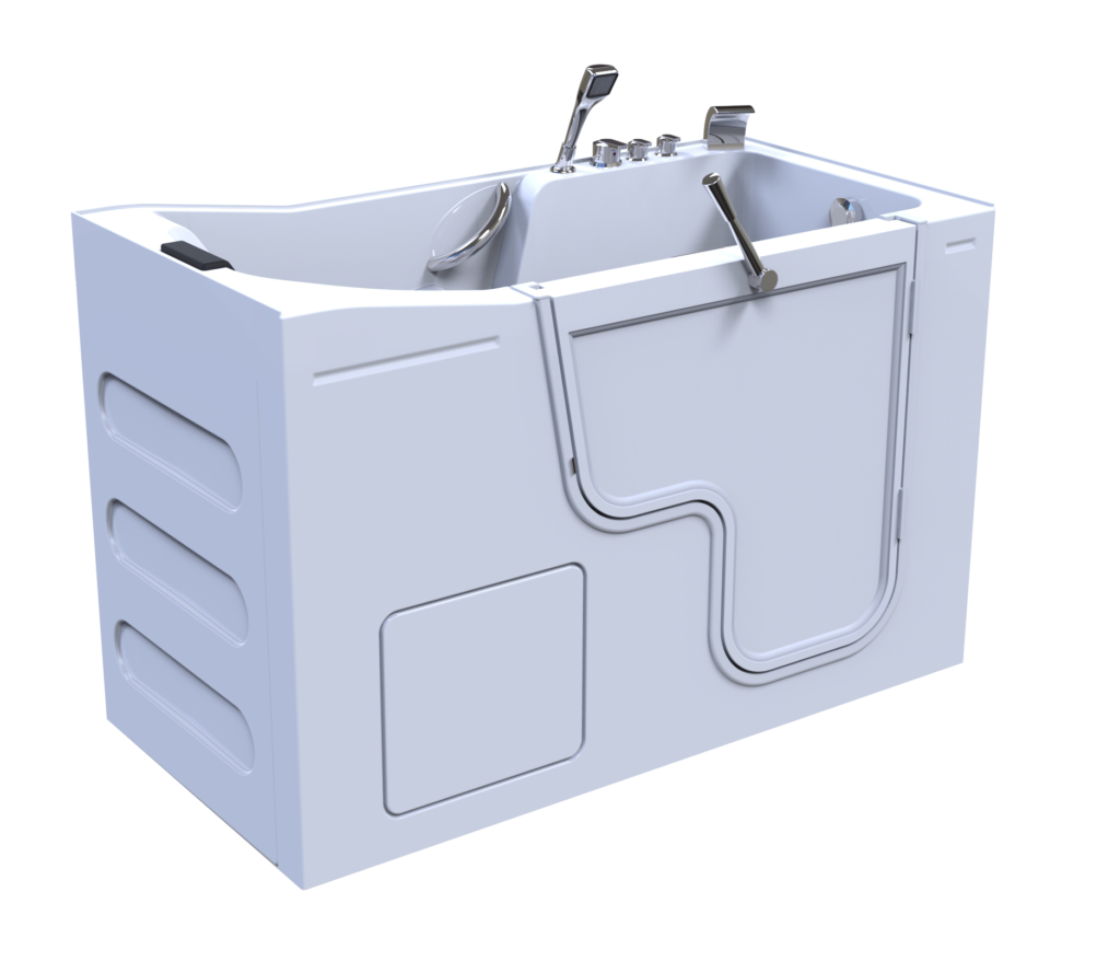 3d model of Oasis style walk-in bathtub, door closed, no water