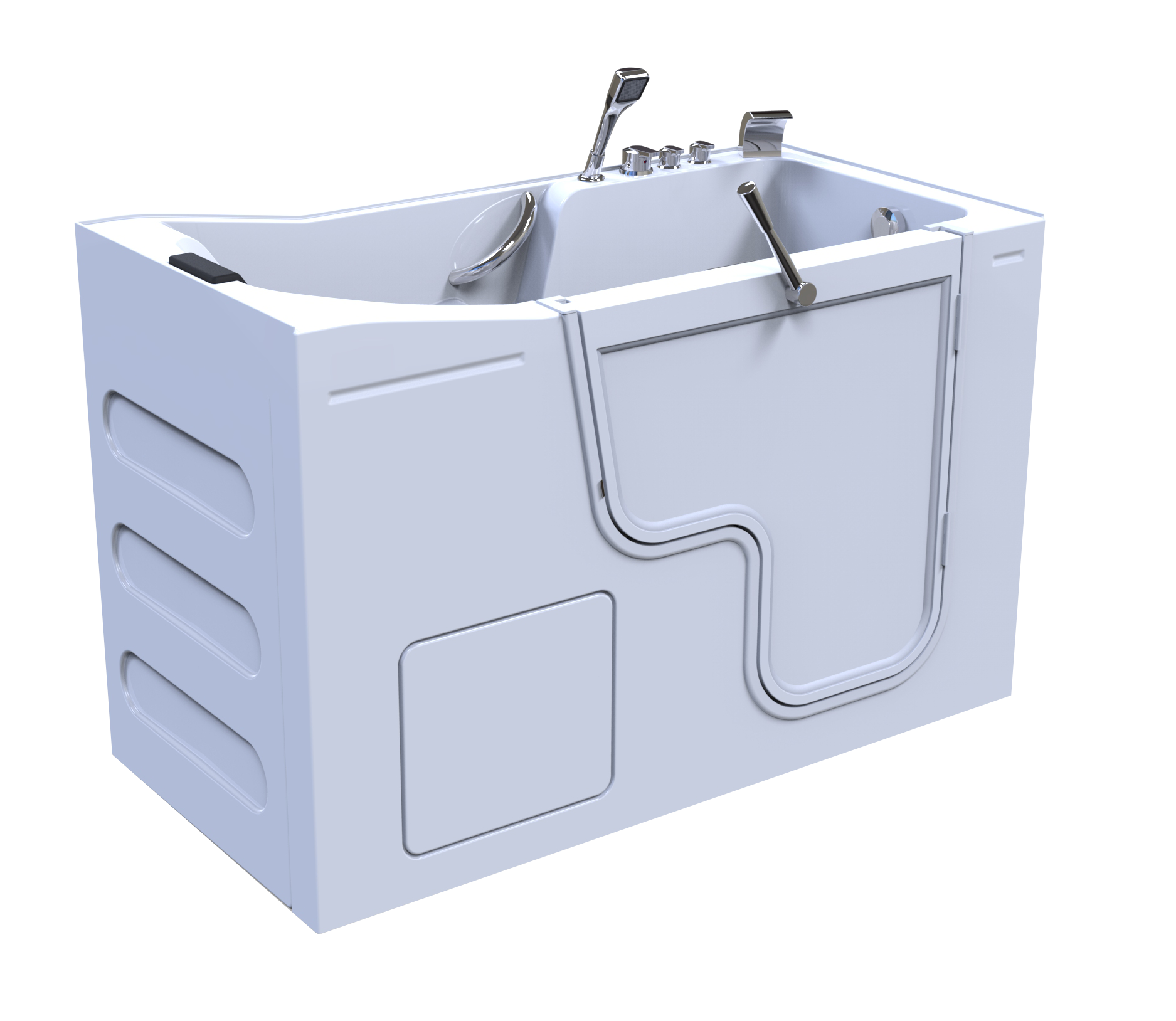 3d model of Oasis style walk-in bathtub, door closed, no water