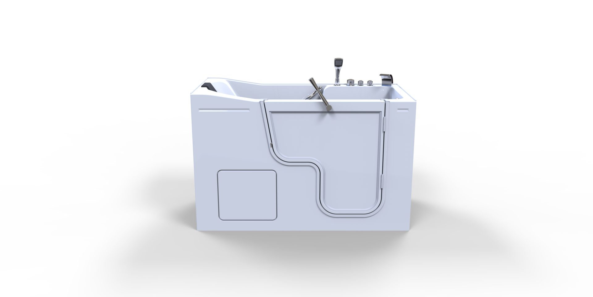 3d model of Oasis style walk-in bathtub, door closed, no water, from side