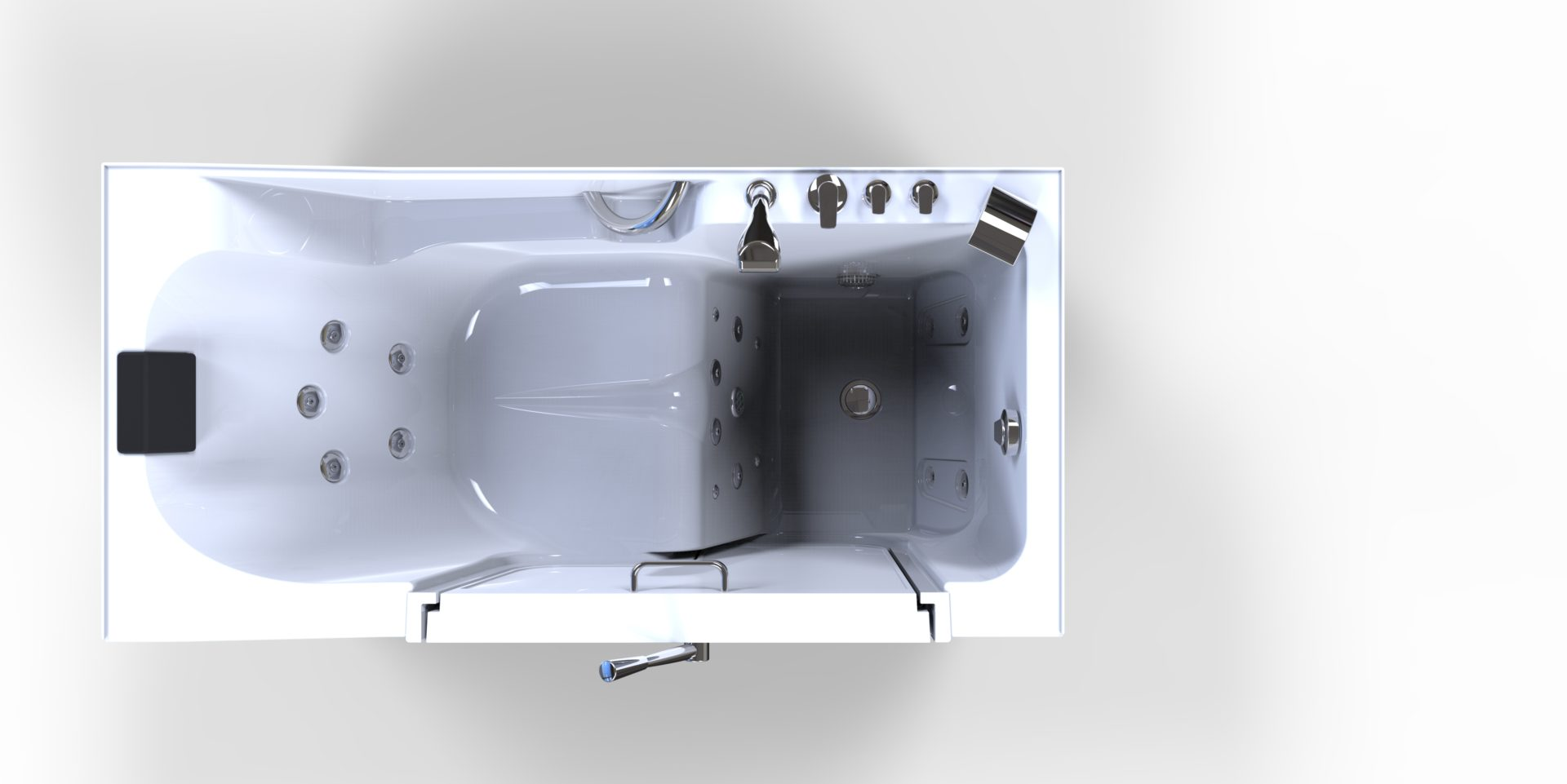 3d model of Oasis style walk-in bathtub, door closed, no water, from above