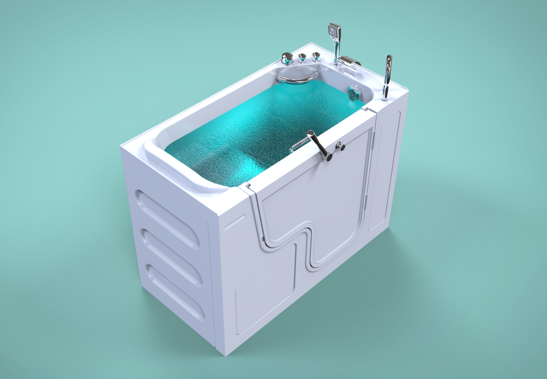 3d model of Panama style walk-in bathtub with door closed, full of water, from above