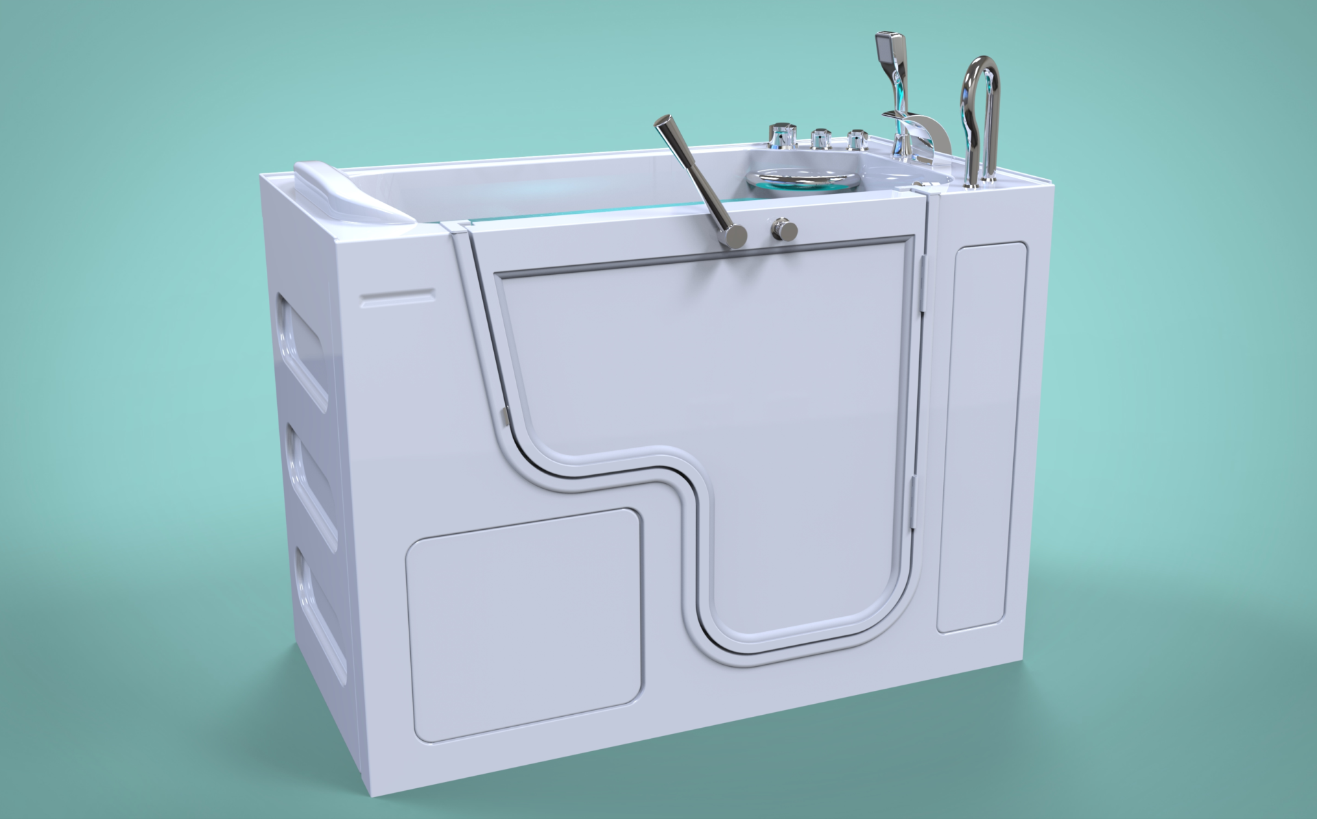 3d model of Panama style walk-in bathtub with door closed