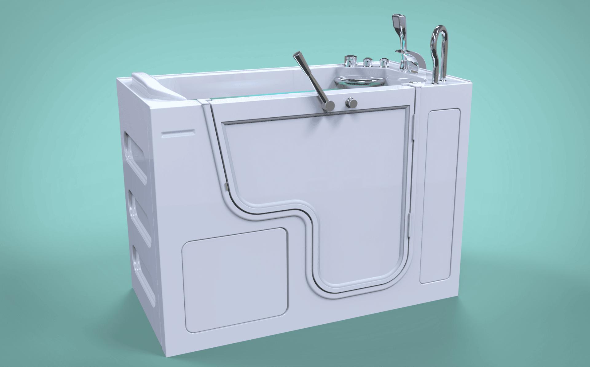 3d model of Panama style walk-in bathtub with door closed