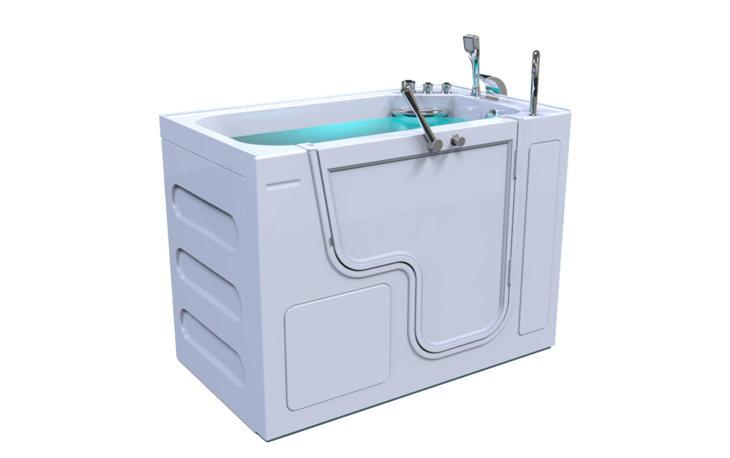 3d model of Panama style walk-in bathtub with door closed, full of water