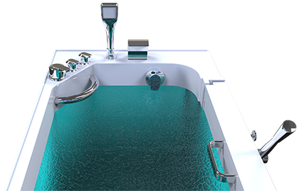 3d model of Panama style walk-in bathtub with door closed, full of water, from behind