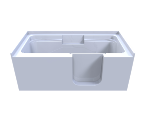3d model of so-lo style walk-in bathtub, from side, door closed, no water