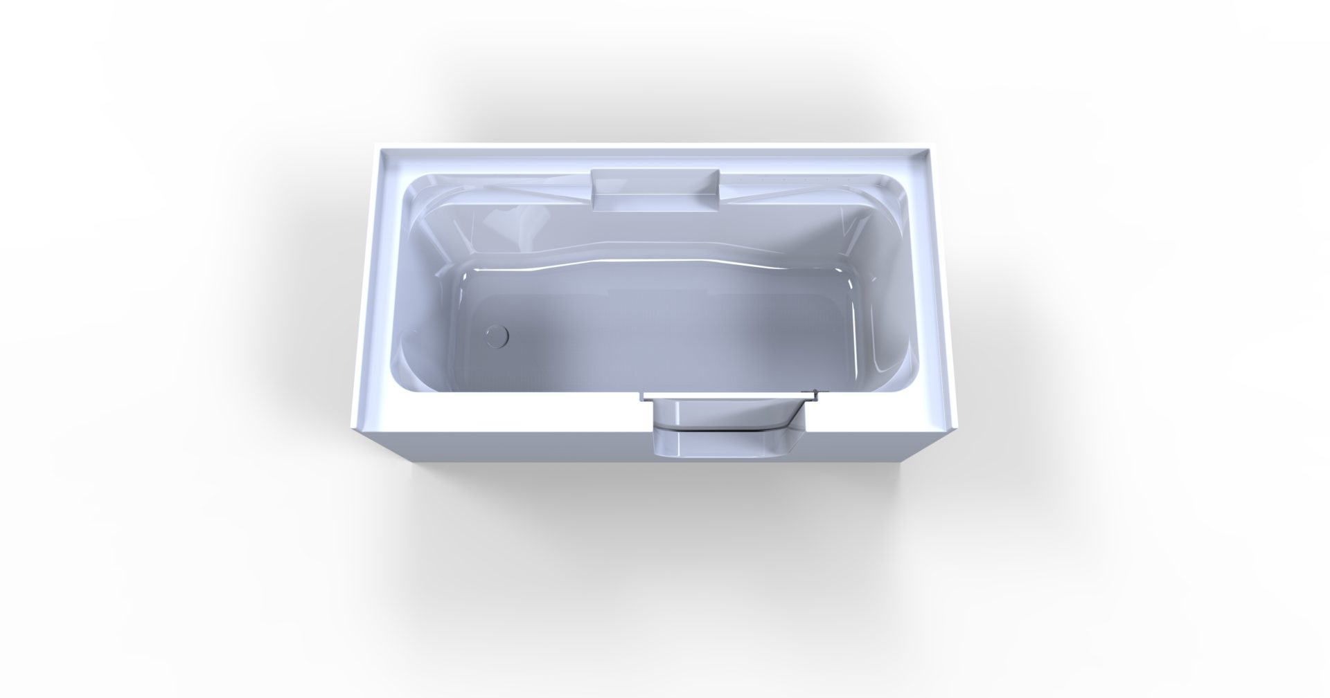 3d model of So-Lo style walk-in bathtub, no water, door closed, from above
