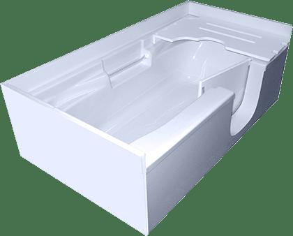 3d model of So-Lo style walk-in bathtub, no water, door open, from bottom corner
