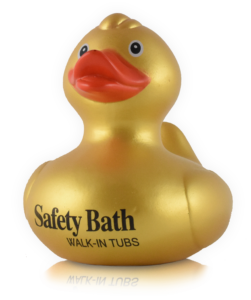 yellow duck with orange bill, with safety bath walk-in tubs written on body