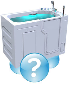 walk-in bathtub with door closed, full of water and a question mark bubble over top