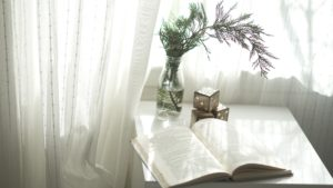 Book sitting near window with white curtains and plant.
