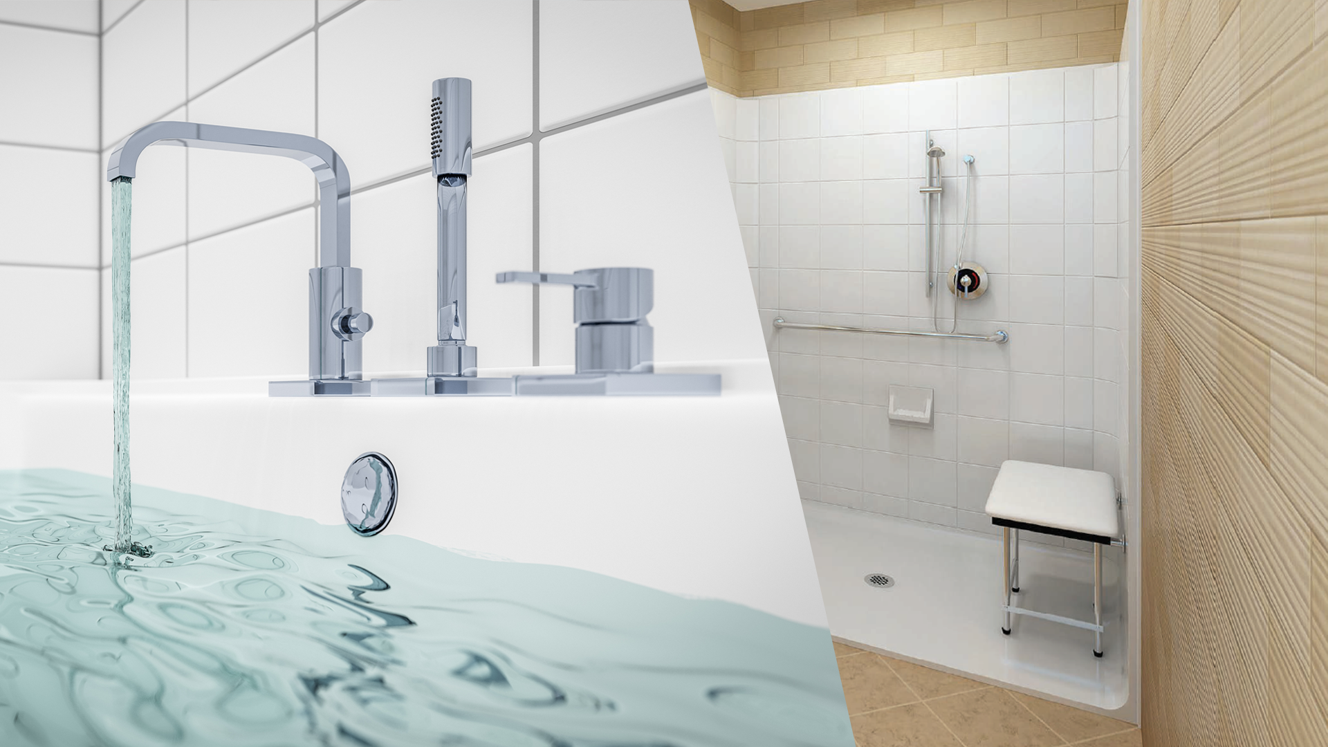 Image spilt between accessible bathtub and accessible shower