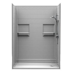 barrier free shower diamond tile surround walls 1